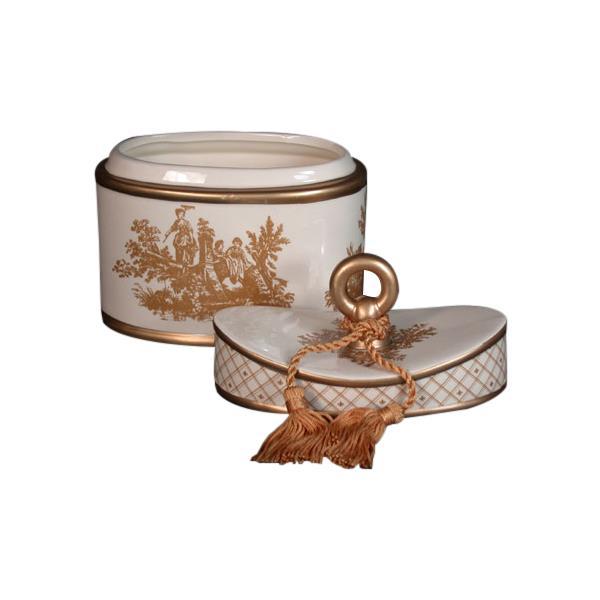 Seda France Classic Toile 2 Wick Candle Ceramic Elegant