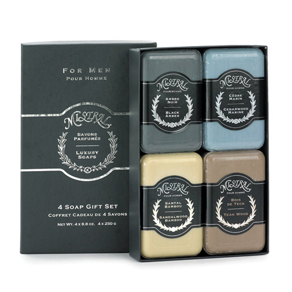 Mistral men 39 s gift box of all 4 soaps 4 soap gift for Mens bath set