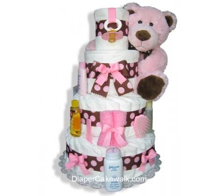 Brown & Pink 4 or 5 Tier Diaper Cake