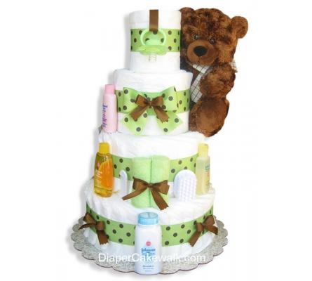 Brown & Green Diaper Cake