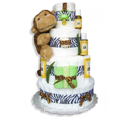 Jungle Safari Diaper Cake Neutral 4 Or 5 Tier