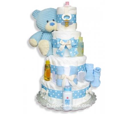 Corduroy Blue Teddy Diaper Cake