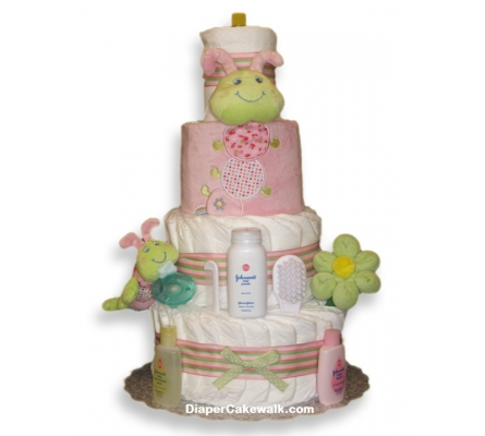 Cutsie Caterpillar Baby Girl Diaper Cake