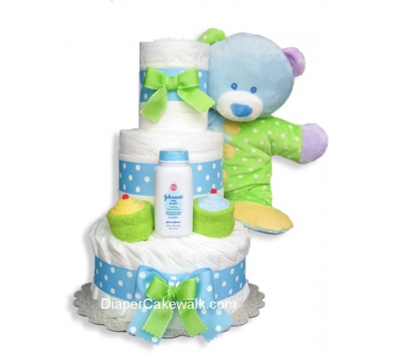 Baby Dimples Blue 3 or 4 Tiers Diaper Cake