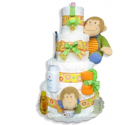 Baby Monkey Diaper Cake 4 Tier or 5 Tier