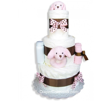 Pink Puppy Baby Diaper Cake