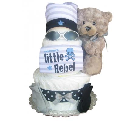 Rockin Rebel Blue Diaper Cake