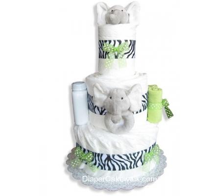 Safari Elephant Baby Diaper Cake