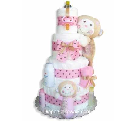 Silly Monkey Pink Diaper Cake