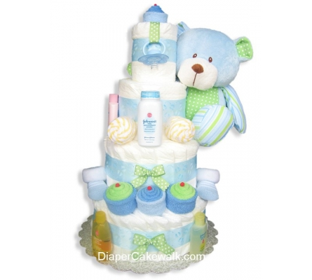 Sweet Baby Blue Diaper Cake 4 or 5 Tiers