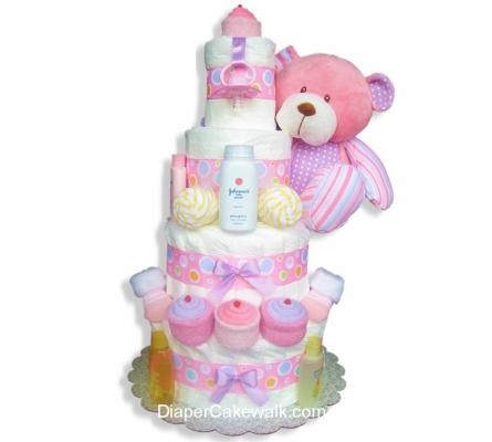 Sweet Baby Pink Diaper Cake