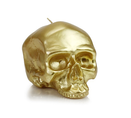 D.L. & Company Medium - Gold Skull Metallic Candle