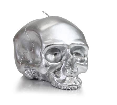 D.L. & Company Medium - Silver Skull Metallic Candle
