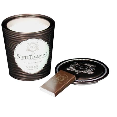 Aquiesse Portfolio Collection Scented Tin Candle White Tea & Mint 11oz