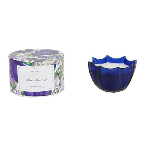 D.L. & Co. Blue Hyacinth Etched Scalloped Candle 10oz