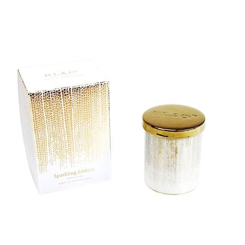 D.L. & Co. White Soleil Candle Sparking Embers 9oz