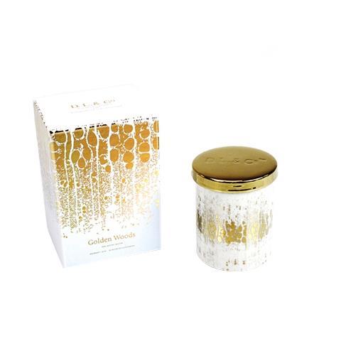 D.L. & Co. White Soleil Candle Golden Woods 9oz