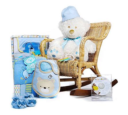 Rock-A-Bye Teddy Boy Gift Basket