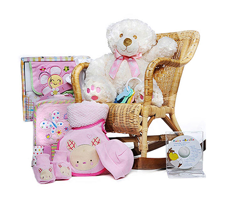 Rock-A-Bye Baby Girl Gift Basket