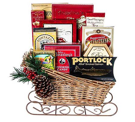 Season's Large Greetings Sled Gift Basket