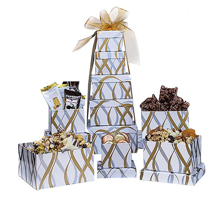 White and Gold Assorted Snack Tower