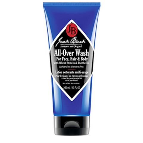 Jack Black All-Over Wash for Face Hair & Body with Wheat Protein & Panthenol 10oz