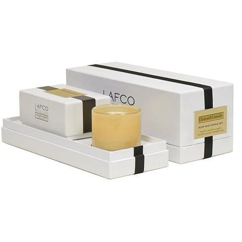 Lafco House & Home Gift Box Of Mini Candle 5oz & Bath Soap 8oz Chamomile Lavender
