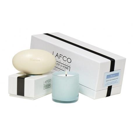 Lafco House & Home Gift Box Mini Candle 5oz & Bath Soap 8.5oz Set Marine