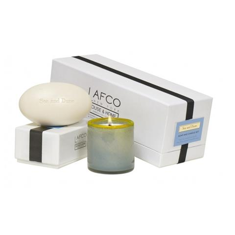 Lafco House & Home Gift Box Of Mini Candle 5oz & Bath Soap 8.5oz Set Sea & Dune