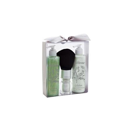 Lady Primrose Celadon Essentials Gift Set (Filled Body Brush, 8oz Skin Moisturizer & 8oz Bathing Gel)