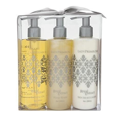 Lady Primrose Royal Extract Triple Pump Gift Set (8oz Skin Moisturizer, Bathing Gel & Handwash Pumps)