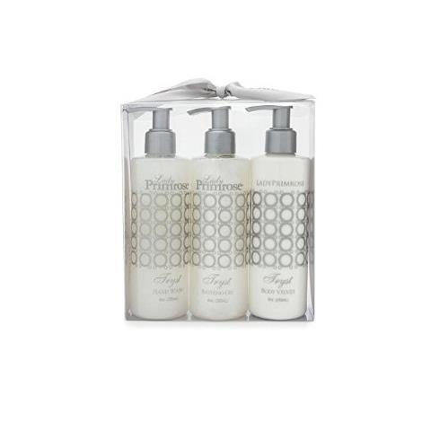 Lady Primrose Tryst Triple Pump Gift Set (8oz Skin Moisturizer, Bathing Gel & Handwash Pumps