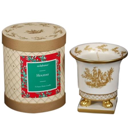 Seda France Toile Holiday Ceramic Petite Candle 5oz