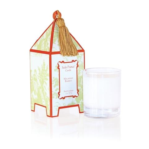 Seda France Malaysian Bamboo Classic Toile Mini Pagoda Box Candle 2oz