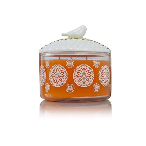 Thymes Mandarin Coriander 3-Wick Candle With Bird Lid 10 Oz