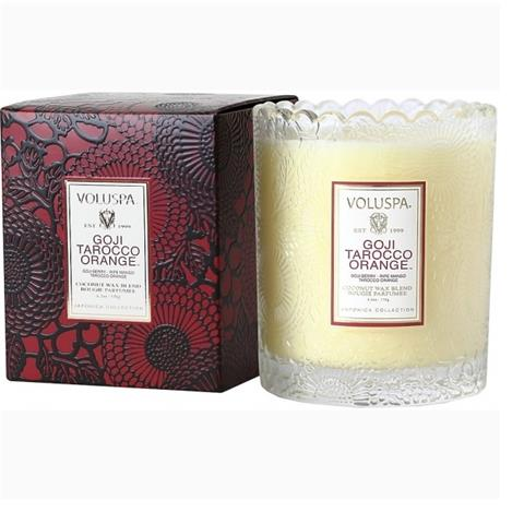 Voluspa Japonica Scalloped Edge Glass Candle Goji Tarocco Orange 6.2oz