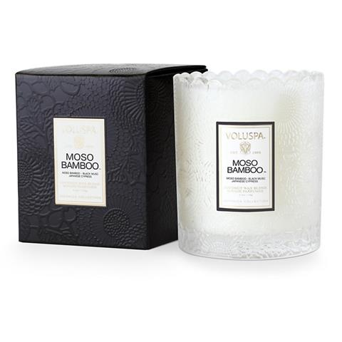 Voluspa Japonica Scalloped Edge Glass Candle Moso Bamboo 6.2oz