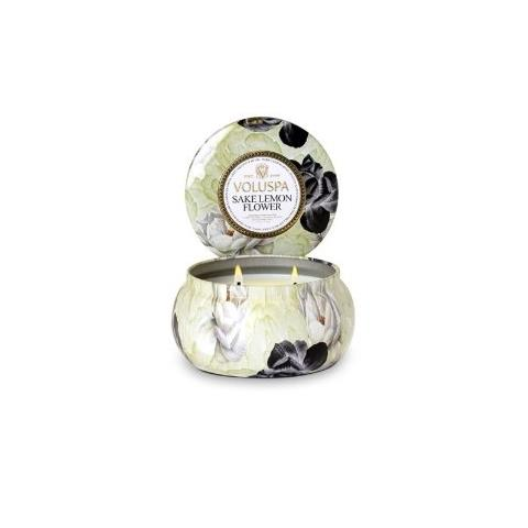 Voluspa Maison Jardin 2 Wick Candle Tin Sake Lemon Flower 11oz