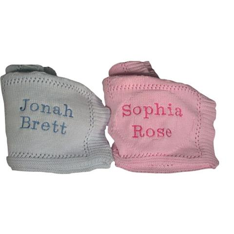 Baby Blankets Embroidered with Baby's Name (and Birth Date if Desired)