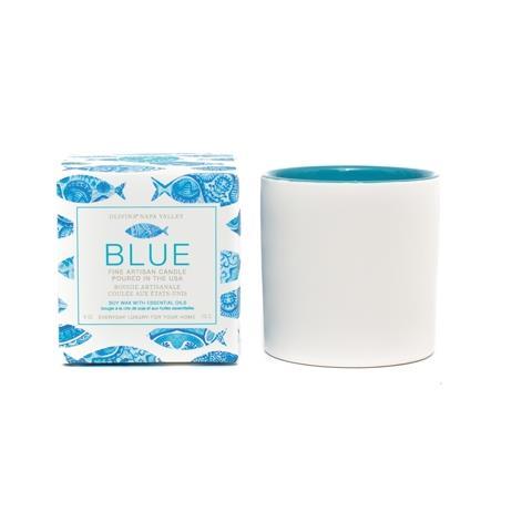 Olivina Blue Ceramic Candle