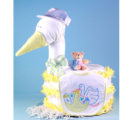 STORK DELIVERS BABY SHOWER DIAPER CAKE