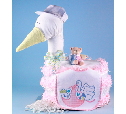 STORK DELIVERS BABY GIRL DIAPER CAKE