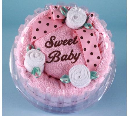 SWEET BABY GIRL HOODED TOWEL CAKE