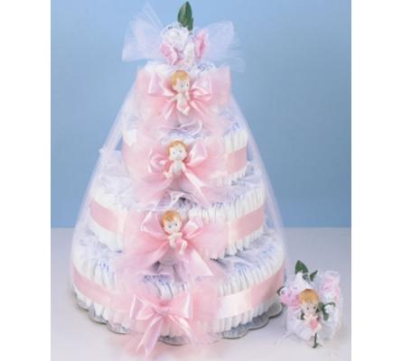 DELUXE DIAPER CAKE DELIGHT BABY GIRL GIFT