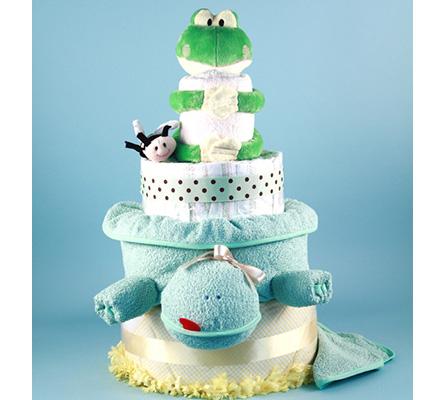 DELUXE FRIENDLY FROG DIAPER CAKE BABY GIFT