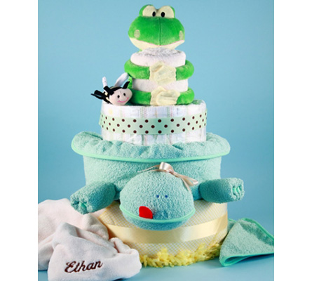 Deluxe Friendly Frog Personalized Diaper Cake