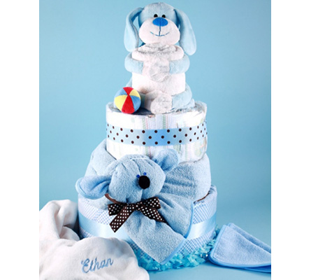Deluxe Puppy Pal Diaper Cake Personalized Baby Gift