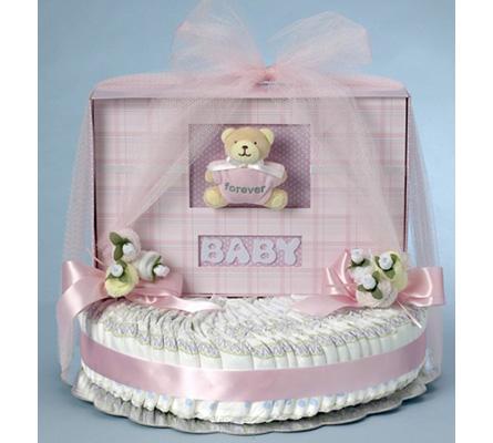 Forever Baby Book Diaper Cake-Girl Baby Gift