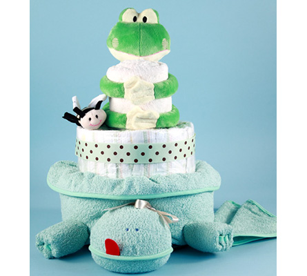 Friendly Frog Diaper Cake Baby Gift