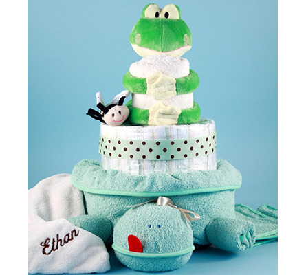 Friendly Frog Personalized Diaper Cake